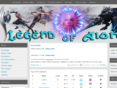 Превью проекта Aion Chronic / Legend of Aion Server 2.7 PVPVE 10X